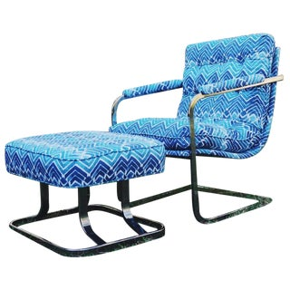 Mid-Century Baughman Style Cantilever Chair & Ottoman For Sale