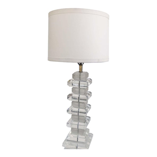 Karl Springer Style Lucite Table Lamp For Sale