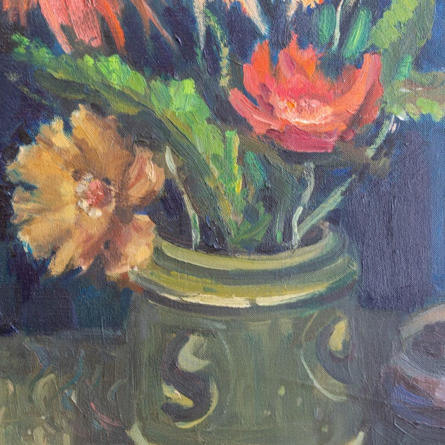 1962 Signed Still Life Oil Painting of Flowers For Sale In Los Angeles - Image 6 of 8