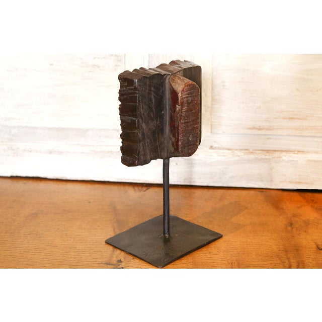 Nashmia Wooden Block Print on Stand For Sale - Image 4 of 5