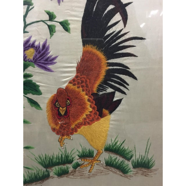 Vintage Mid-Century Chinese Embroidered Rooster and Bird Panels - A Pair For Sale - Image 4 of 11