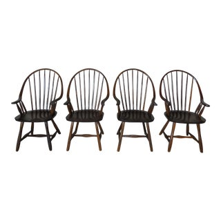 Hunt Country Oak Hoop Back Arm Chairs - Set of 4