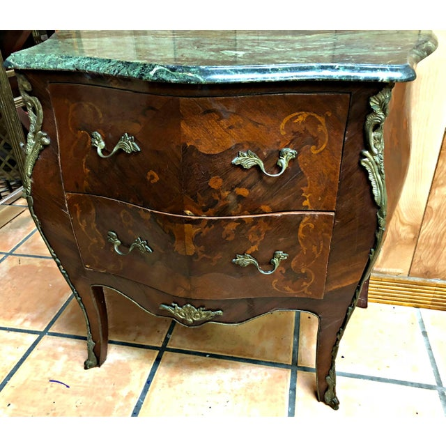 French Marquetry Inlay and Marble Top Commodes - a Pair For Sale - Image 9 of 13