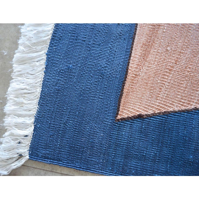 Blue Paul Klee - Sailing Boats - Inspired Silk Hand Woven Area - Wall Rug 4′6″ × 5′9″ For Sale - Image 8 of 11