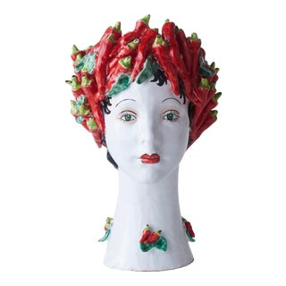 Donatello Ceramic Head Vase, Peppers Décor For Sale