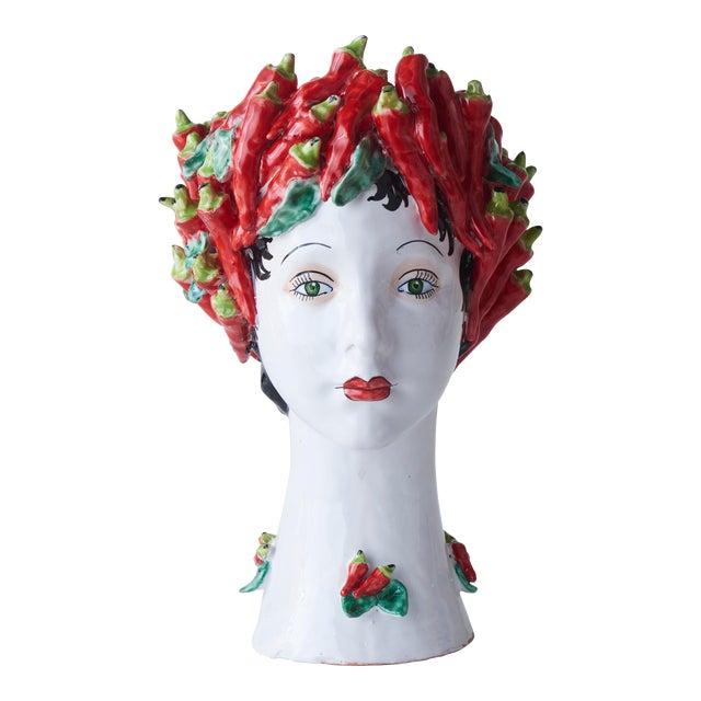 Donatello Ceramic Head Vase, Peppers Décor For Sale