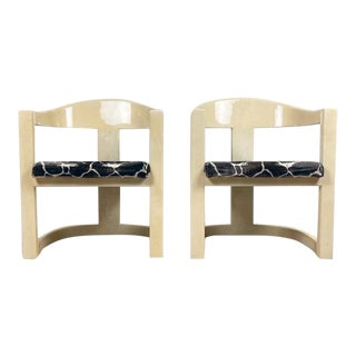 Karl Springer Onassis Goatskin Chairs - a Pair For Sale
