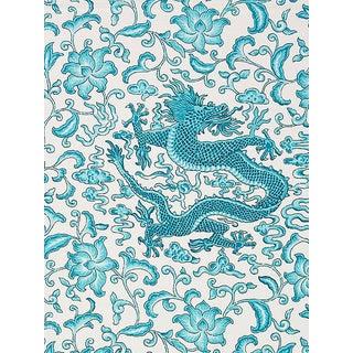 Sample, Scalamandre Chi'En Dragon Linen Print, Turquoise Fabric For Sale