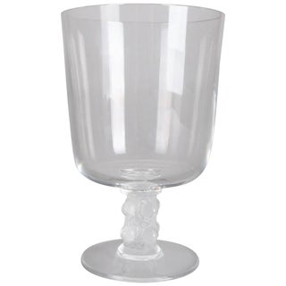 French Lalique Crystal Art Glass Chalice, Signed, 20th Century For Sale