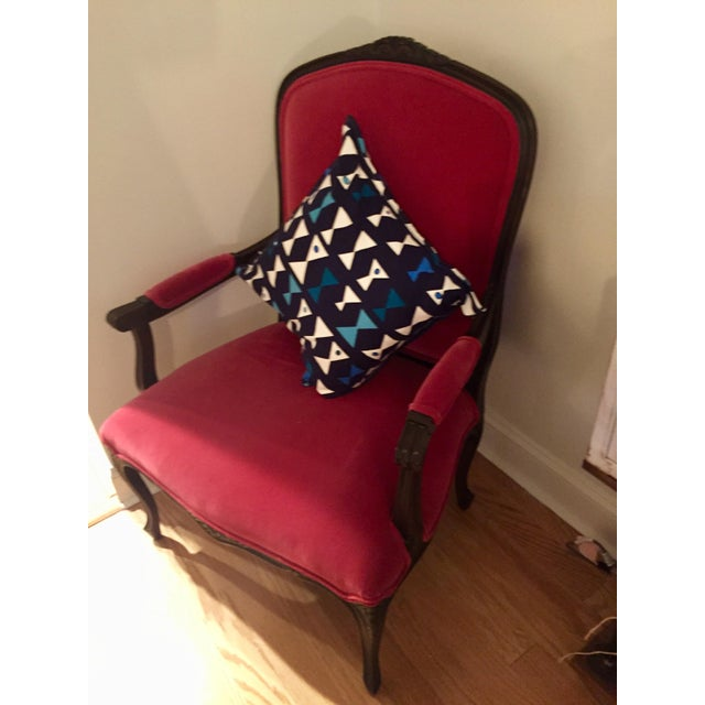 19th Century Louis XVI Red Velvet Arm Chair For Sale - Image 4 of 11