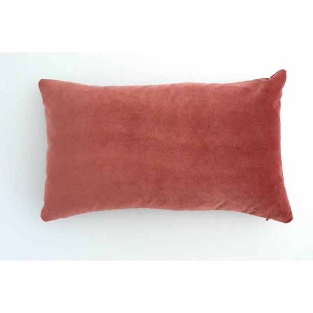 2010s FirmaMenta Italian Rose Salmon Pink Velvet Lumbar Pillow For Sale - Image 5 of 5