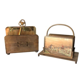 English Equestrian Brass Letter Holders - a Pair