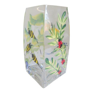 Hand-Painted Vintage Flora & Fauna Glass Vase For Sale