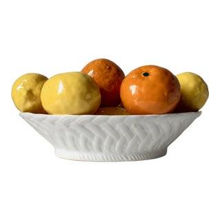 Italian Ceramic Basket of Lemons & Oranges For Sale