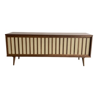 Mid Century Modern Walnut and Cane Credenza For Sale