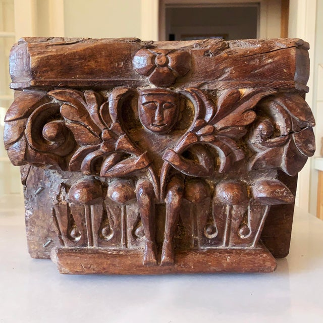 C. 1880 Anglo Indian Carved Teak Architectural Column Top For Sale - Image 13 of 13
