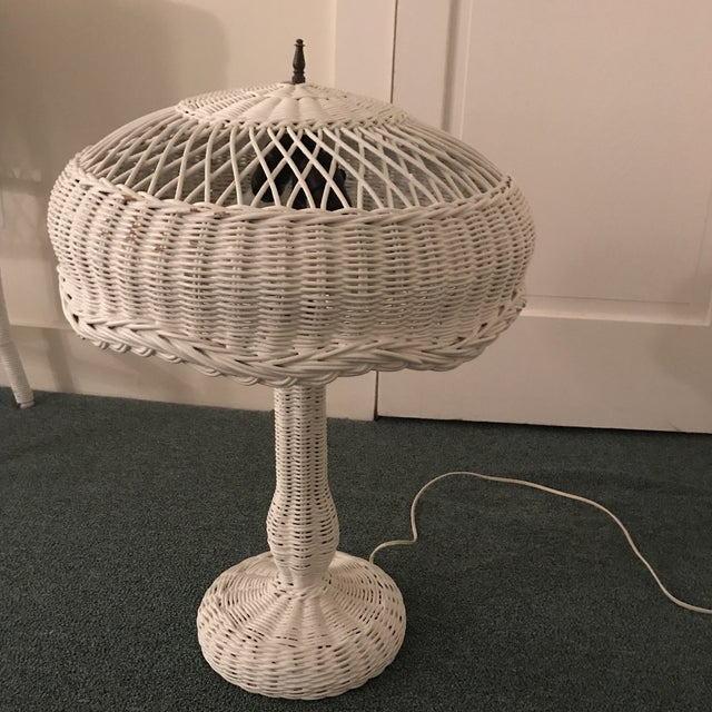 1950s Vintage Wicker Lamp For Sale - Image 11 of 13