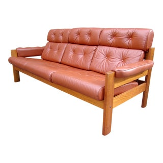 1970s Vintage Ekornes Tufted Leather Danish Modern Teak Sofa For Sale