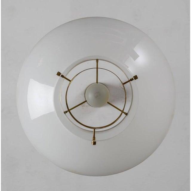 1960s Yki Nummi White Plexiglass and Brass Pendant for Orno, Finland, 1960s - 2pcs For Sale - Image 5 of 9