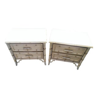 A Pair Dixie Allegro Faux Bamboo Palm Beach Regency Night Stands