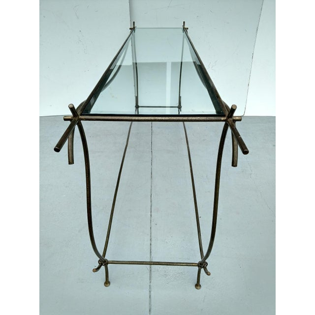 Late 20th Century Wrought Iron and Glass Console Table, Vintage For Sale - Image 5 of 13