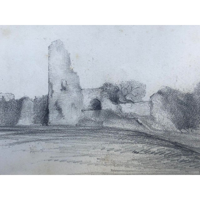 Mid 19th Century 19th Century English Graphite Landscape Drawing of Pevensey Castle Ruins 1855 For Sale - Image 5 of 8
