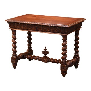 19th Century French Louis XIII Carved Oak Barley Twist Table Desk For Sale
