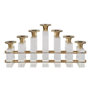 Candle Holder in Lucite & Brass by Charles Hollis Jones For Sale