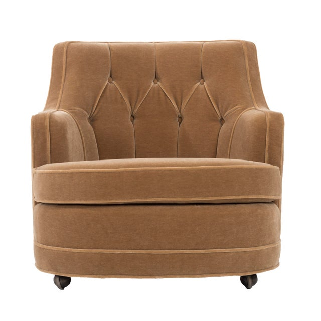"Gold Edward Wormley for Dunbar ""TV"" Tufted Mohair Lounge Chair For Sale - Image 8 of 8"
