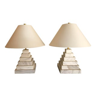 Contemporary Solid Stepped Carrera Marble Table Lamps - a Pair For Sale