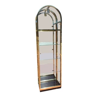 Milo Baughman Style Arched Brass Lucite Display Cabinet With Glass Door and Light For Sale