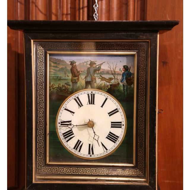 French 19th Century French Napoleon III Hand-Painted Wall Clock With Hunt Scene For Sale - Image 3 of 13