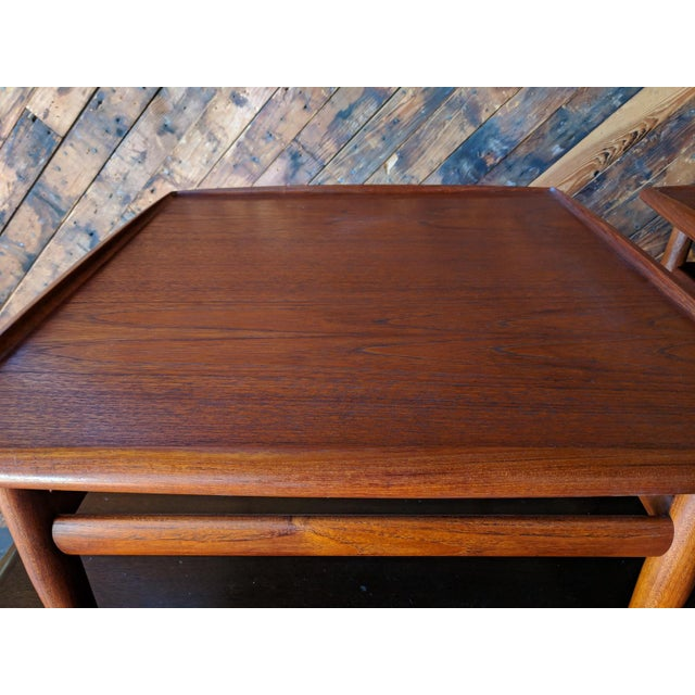 Sculpting Pair of Danish Teak Mid Century Side/Coffee Tables by Grete Jalk for Glostrup For Sale - Image 7 of 10