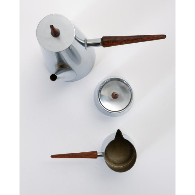 Metal Italian Modern Coffee or Tea Service With Rosewood Handles For Sale - Image 7 of 13