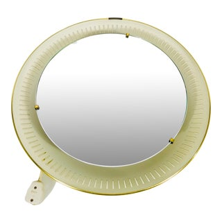 1960s Mid-Century Modern Round Metal Illuminated Wall Mirror From Hillebrand, Germany For Sale