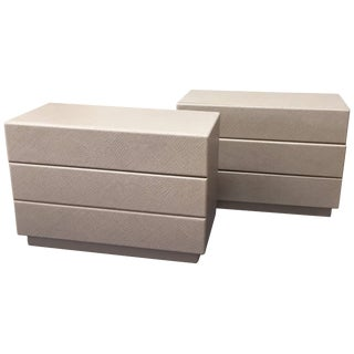 Custom-Made Linen-Wrapped Chests - a Pair For Sale