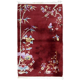 1920s Handmade Antique Art Deco Chinese Rug 3.1' X 4.10' For Sale