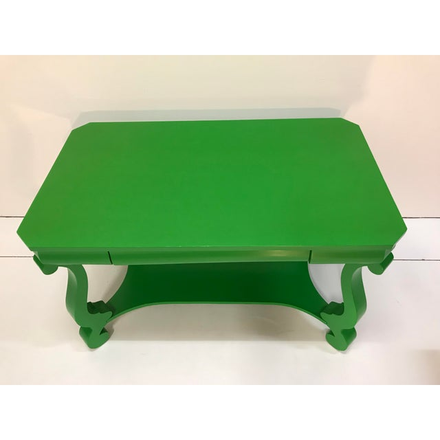 American 19th Century America Empire Revival Library Writing Desk Table Painted Green Home Office For Sale - Image 3 of 7