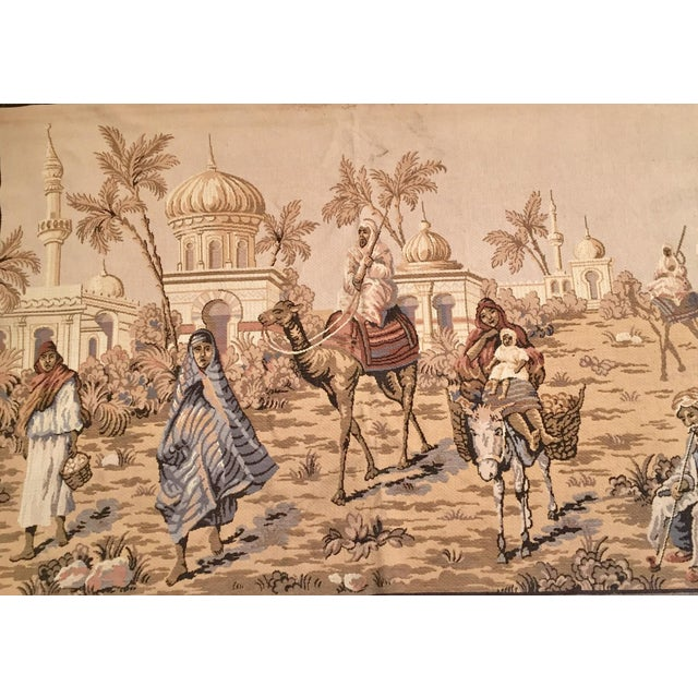 Large 19th Century Orientalist Scene and Moorish Architecture Tapestry For Sale - Image 4 of 12