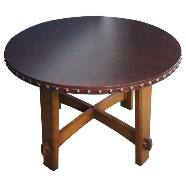 The commemorative library table is a reissue of an original 1903 Gustav Stickley designed table. Features Mission staples...
