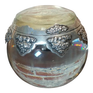 19th Century Crystal Sphere With Silver Overlay Inkwell