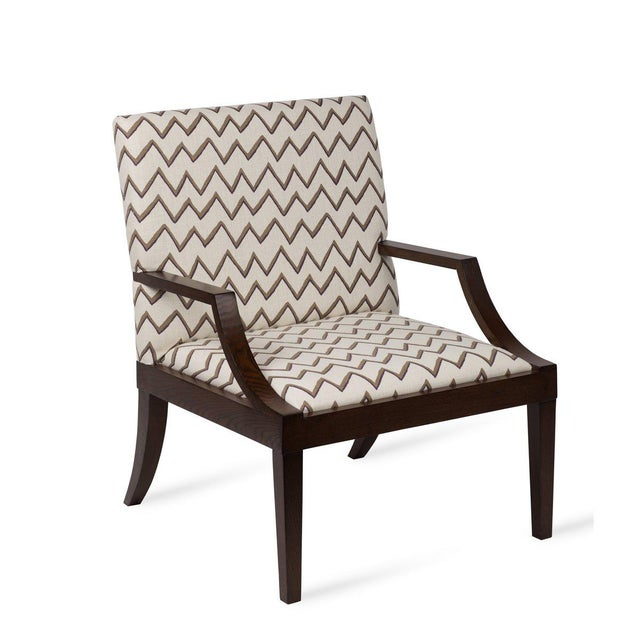 Not Yet Made - Made To Order The Lounge Lizard Chair in Zig Zag Taupe Violet For Sale - Image 5 of 5