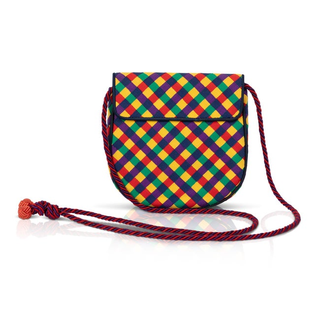 Boho Chic Vintage Bottega Veneta Colorful Ribbon Gold Shell Crossbody Bag For Sale - Image 3 of 6