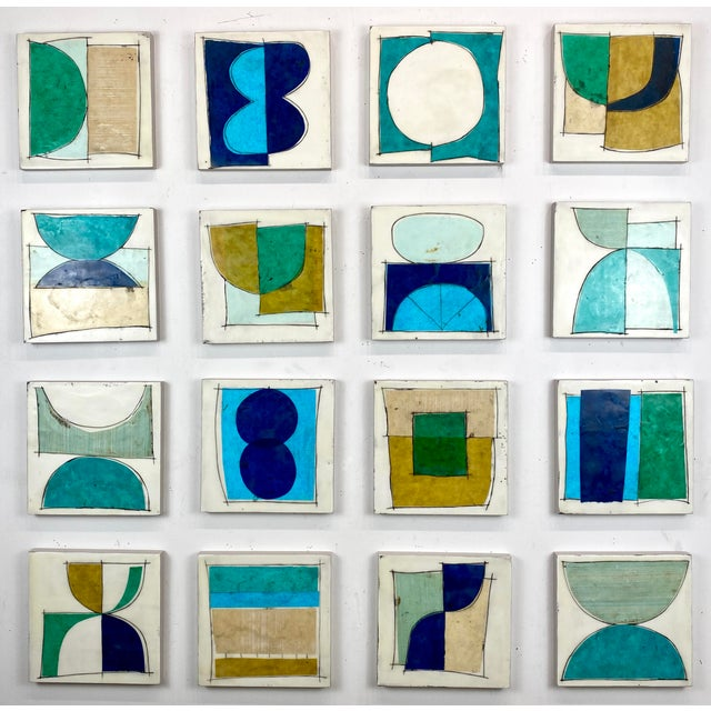 """""""Elsewhere"""" Original Encaustic Collage Installation by Gina Cochran - Blue and Teal - 16 Panels For Sale - Image 13 of 13"""