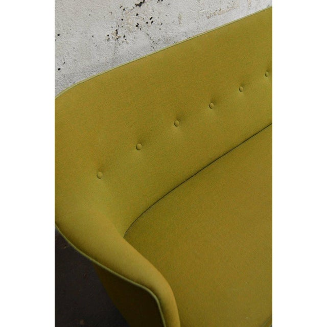 Mid-Century Scandinavian Modern Green Tweed Sofa in the Style of Carl Malmsten For Sale - Image 5 of 6