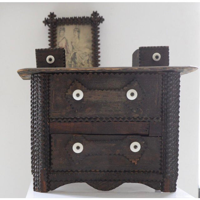 Wood Antique Tramp Art Box With Drawers For Sale - Image 7 of 7
