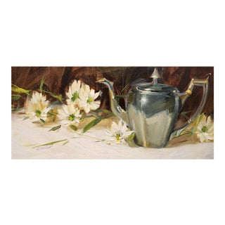 "Judy Crowe ""Silver Teapot and Daises"" Oil Painting For Sale"