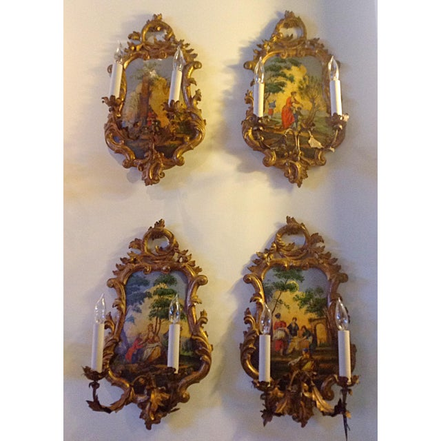 Venetian Wall Sconces - Set of 4 - Image 2 of 3