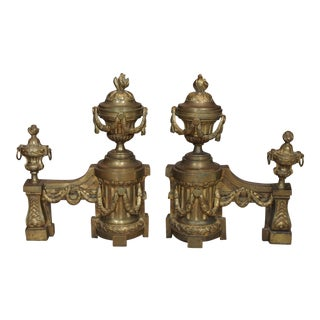Pair of Louis XVI Bronze Andirons For Sale