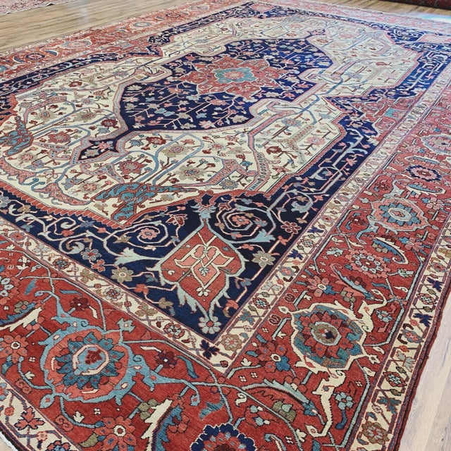 Late 19th Century Antique Persian Serapi Heriz Rug- 10′8″ × 16′ For Sale - Image 5 of 11